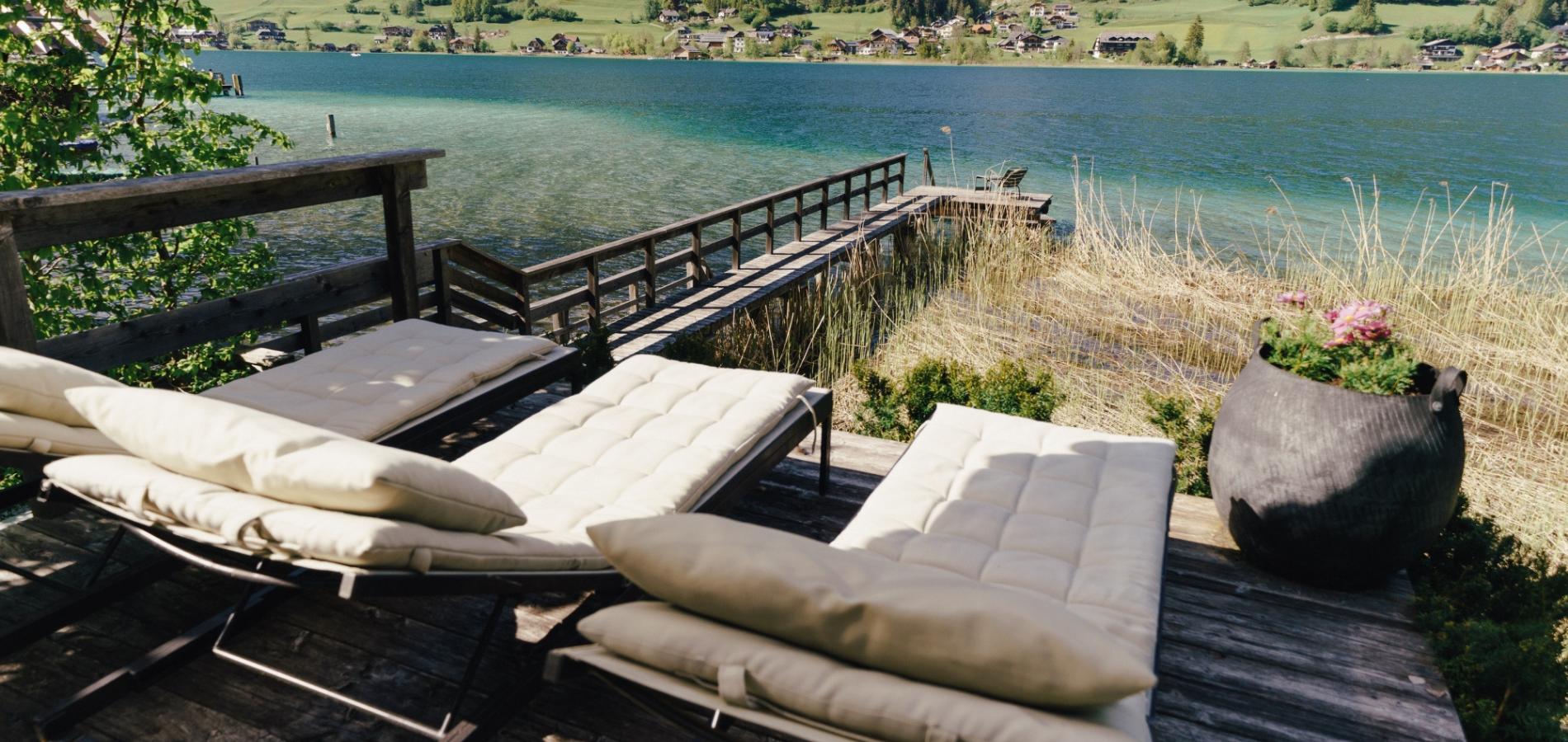Architekten-Ferienhaus Murray Hill mit eigenem Badeplatz am Weißensee bei Seebnb